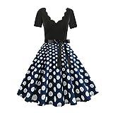 Damen Mode Gürtel Kleid Kurzarm V-Ausschnitt Knielanger Rock(Blau,XL)