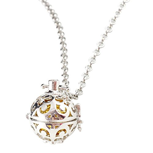 Segolike Women Elegant Copper Perfume Diffuser Oil Sweater Necklace Open Long Chain Pendant with Glass Ball - yellow