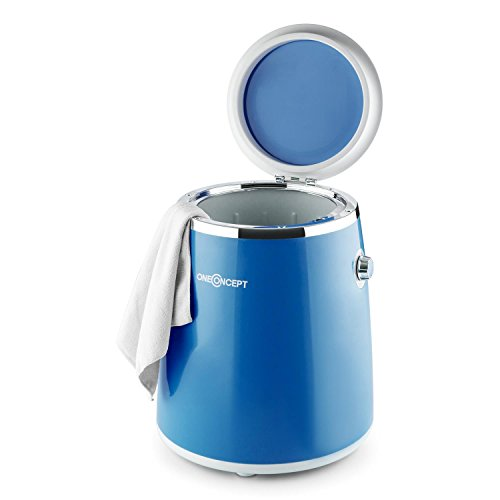 Oneconcept Ecowash-Pico - Mini Lavadora Portable , Lavadora de Camping , Función Centrifugado , Capacidad: 3,5 kg , Potencia: 380 W , Temporizador , Uso Sencillo , Recogecable , Asa Transporte , Azul