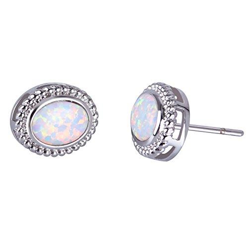 KELITCH Zierlich Weiß Oval Opal Ohrstecker für Damen Versilbert
