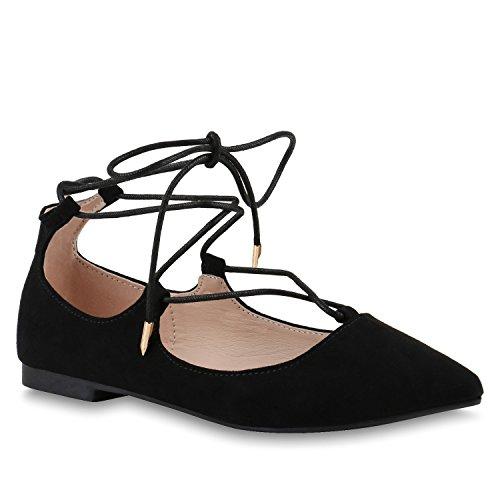 Spitze Damen Ballerinas Flats Velours Pastell Riemchen Ballerina Lace Up ShoesCut-Outs Schuhe 139435 Schwarz Velours Cabanas 38 Flandell