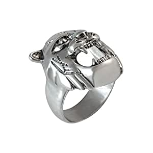 Sarah Tiger Face Finger Ring for Men - Silver [Jewelry]