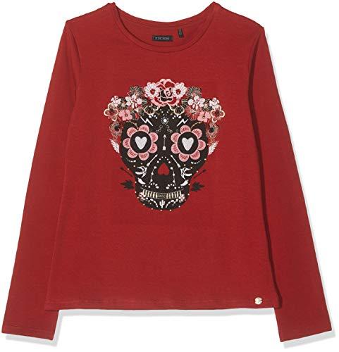 IKKS Junior tee Shirt Ml Rouge Tete De Mort Couronne Fleurie Camiseta, Rojo Foncé 37, 2 años (Talla del Fabricante: 2A) para Niñas