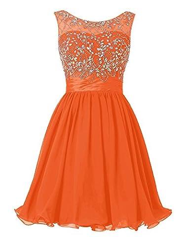 BetterGirl Chiffon Kurz Perlen Ballkleid Abendkleid Brautjunferkleide-Orange-46