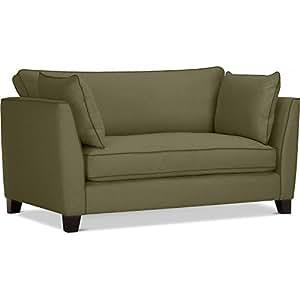 Canapé de salon - 2 places - Vintage - Tissu Vert foncé