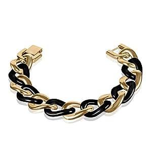 Taffstyle® Schmuck Damen Bicolor Luxus Keramik & Edelstahl Panzer Armband Bracelet Panzerarmband Gliederarmband Edelstahlarmband - Gold / Schwarz