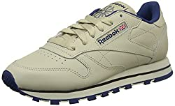 Reebok Womens Classic Leather Training Running Shoes Beige (Ecru/Navy) 4 UK