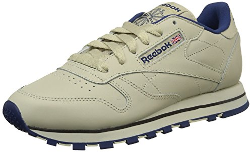 Reebok Damen Classic Lthr 28413 Sneaker, Beige (Ecru/NAV), 37 EU -