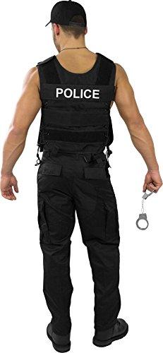 normani Karnevalskostüm SWAT/Security/Polizei Outfit aus Einsatzweste, Hose, Pistolenholster, Cap, Handschellen, Hundemarke und abnehmbaren Patch [S-4XL] Farbe Police Größe XL