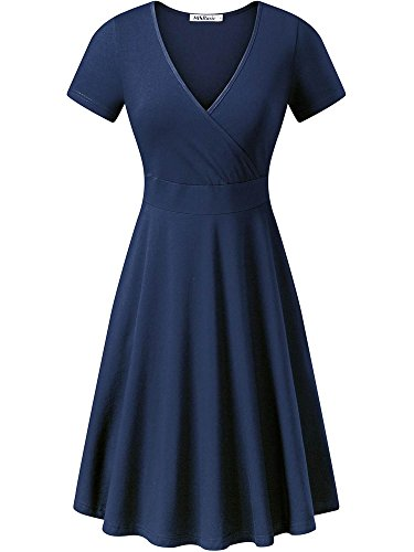 MSBASIC Women's Deep V Neck Short Sleeve Unique Cross Wrap Casual Flared Midi Dress 8003-3, Dunkelblau - XL -