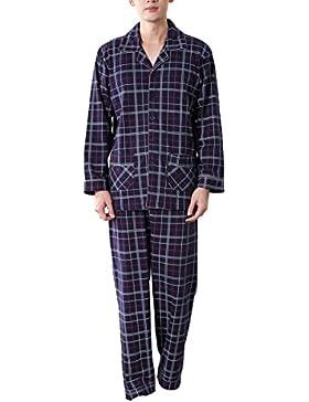 [Patrocinado]Amhillras Pijamas Ropa de dormir larga 100% Algodón Pijama de hombre