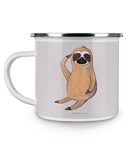 Mr. & Mrs. Panda Emaille Tasse Faultier Vogel zeigen - 100% handmade in Norddeutschland - Tasse, Kaffeebecher, Kaffeetasse, Faultiere, früher Vogel, Camping, Morgenmuffel, Faultier, der frühe Vogel, Becher, Lieblingstier, Campingbecher