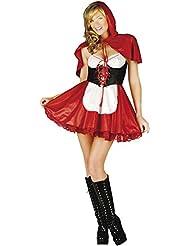 Mix lot Kleine Rotkäppchen-Outfit cosisting von einem Kleid mit einem Bauernmädchen Stil vor mit einer kleinen Schürze und passenden roten Kapuzenumhang Größen 36-38 / 40-42 / 44/46