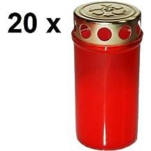 Grab rot weiß Grabschmuck Öllicht Tage 20x Glas Grabkerze 60 h Grablicht
