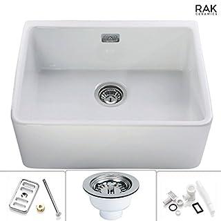 RAK Ceramics 1.0 White Belfast Kitchen Sink With Complete Overflow Waste Kit
