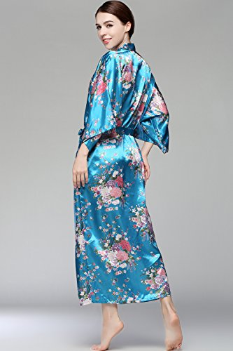 BABEYOND Damen Morgenmantel Maxi Lang Seide Satin Kimono Kleid Blütenkirsche Muster Kimono Bademantel Damen Lange Robe Blumen Schlafmantel Girl Pajama Party 135 cm Lang (See Blau) - 6
