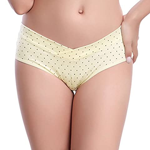Coconut M 3pcs en coton en forme de U sous la taille des sous-vêtements de maternité Femmes enceintes Culottes de grossesse jaune L