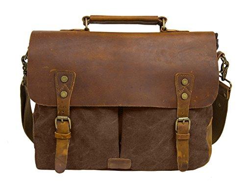 ECOSUSI Umhängetasche Herren Aktentasche Messenger Bag Canvas Schultertasche Leder Tasche Kaffee