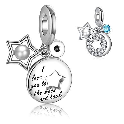 050361489811 FOREVER QUEEN Charm Colgante Luna y Estrella Plata de Ley 925 con Perla  Circonita Cúbica Abalorio