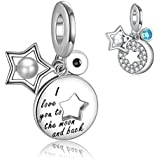 Abalorio con diseño de la luna y la espalda para pulsera Pandora y cadena de collar, plata de ley 925, diseño de luna y estrella, con perla y forma redonda, color azul y circonita cúbica FQ00021
