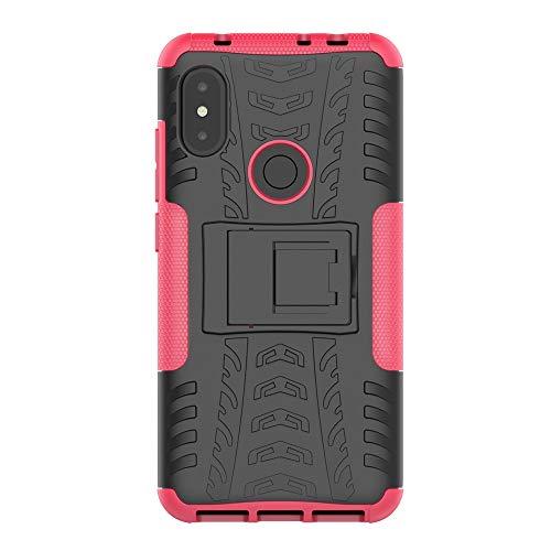 Capa ROCKWEY para Xiaomi Mi 8 PRO, Resistência a Choques, Anti-derrapante, TPU + PC Misturando Jaqueta Dupla [piso] [Hard] Case (Rosa Vermelha)