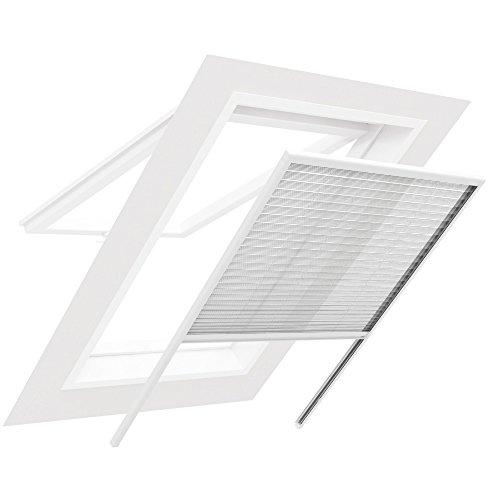 easy life plissettata zanzariera per finestra colore bianco in alluminio con tetto: perfetto effetto & all'ottima - ulteriori misure di protezione, Alluminio, bianco, 130 x 160 centimetri
