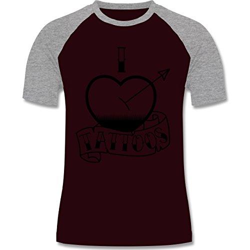 I love - I love Tattoos - zweifarbiges Baseballshirt für Männer Burgundrot/Grau meliert
