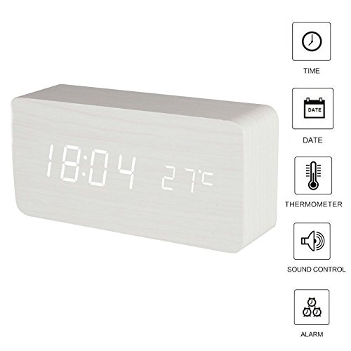 TKSTAR LED Digital Wecker Uhr Holz, Digitalwecker Holz Wecker Sound Control Smart Digital Wecker mit Temperaturanzeige Snooze Einstellbare Helligkeit Datumsanzeige Wecker Kinder (Weiß Holz weiß Wort)