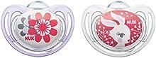 NUK 10175111 silicona Soother (chupete) Freestyle con el anillo, tamaño 1 (0-6 meses), libre de BPA, 2 piezas, Girl