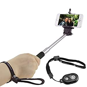 "Selfie Stick by CamKix; With Universal Phone Holder Suitable for iPhone, Samsung, and Other Devices up to 3.25 Inches in Width - Fully Adjustable Handheld Monopod 11""- 40"" Light, Compact, and Easy to Carry With You (Black with Remote)"