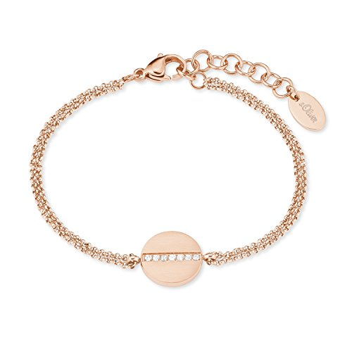 s.Oliver Armband für Damen aus Edelstahl IP Rose Weiß