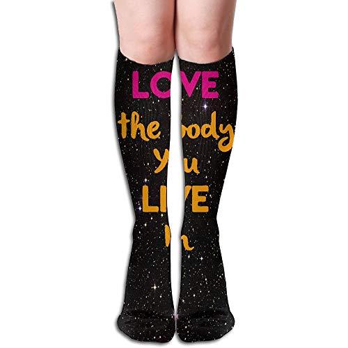 Jxrodekz Love The Body You Live In 3D Printing Anti-Odor Running Long Sock Athletic Socks