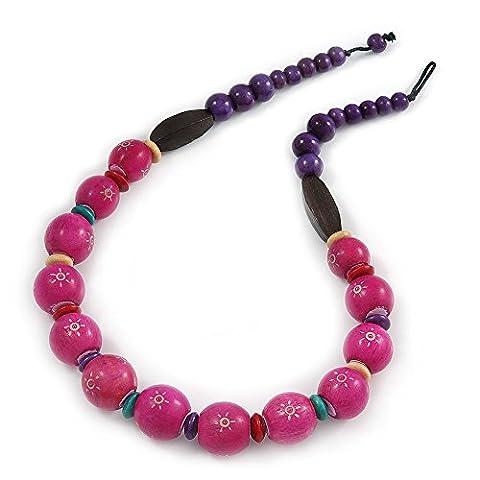 Fuchsia/Violet Bois Collier de perles–58cm–L