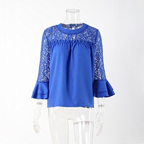 Xshuai Frauen Elegant 3/4 Hülsen-Rüschen-Oberseiten-Damen-Stickerei-Spitze-Hemd-Blusen-T-Shirt Blau