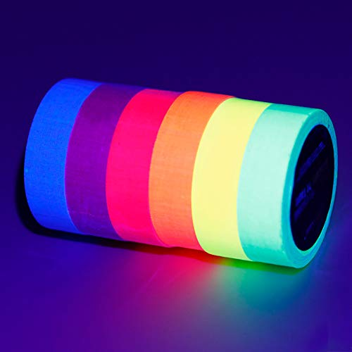 loth Tape, 6 Roll UV Blacklight Reactive Fluorescent/Neon Gaffer Cloth Tape, Great for Glow Parties and Art Projects(15mmX5M) (6 Colours) ()