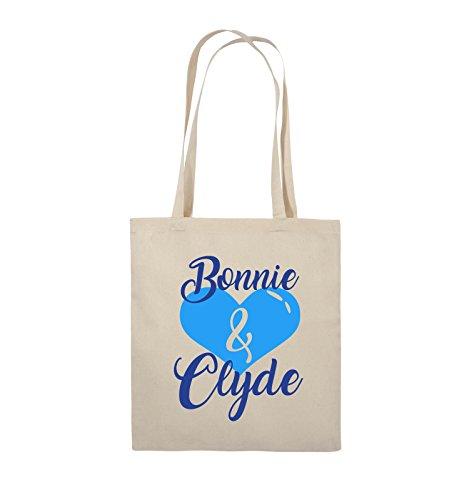 Comedy Bags - Bonnie & Clyde - HERZ MOTIV - Jutebeutel - lange Henkel - 38x42cm - Farbe: Schwarz / Weiss-Neongrün Natural / Royalblau-Hellblau