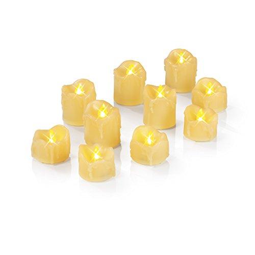 LED de vela velas sin llama vela 10unidades stimmungsvolle iluminación de Navidad y decoración de Navidad para Interior también para Boda y Fiesta Color Blanco Crema inalámbrico