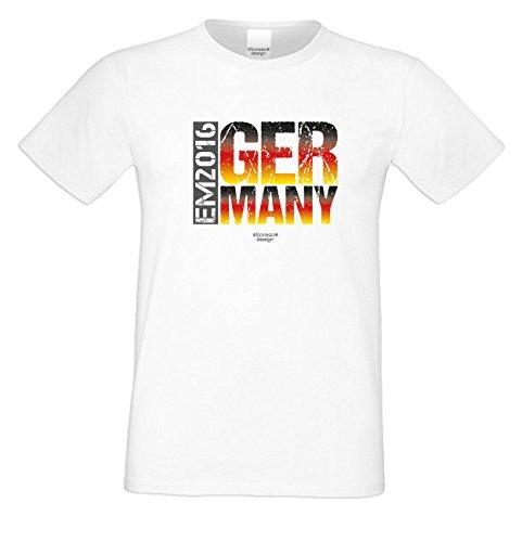 Das Fun T-Shirt zur Fußball EM 2016 in Frankreich Fußball EM 2016 - Germany Public Viewing Party Outfit Farbe: weiss Weiß