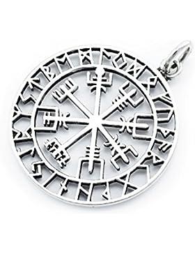 windalf Großer Wikinger Anhänger ~ ODINSØN ~ Ø 3.6cm - Vegvísir Amulett - 925 Sterlingsilber (av66)