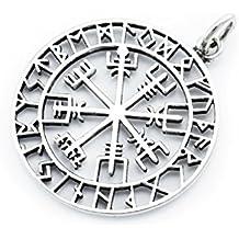 windalf grande Vikingo colgante ~ odinsøn ~ Diámetro 3.6cm–vegvísir Amuleto–Plata de ley 925(av66)