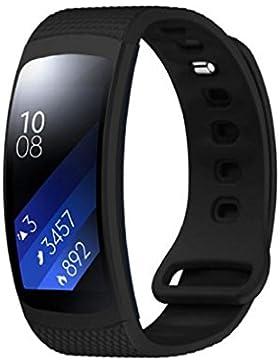 Tonsee Luxus Silikon Uhr Ersatzband Bügel für Samsung Gear Fit 2 SM-R360,schwarz