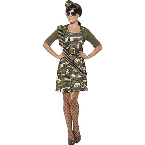 Kostüme Militär Damen (Smiffy's 45503X1 - Damen Kampf Kadett Kostüm, Kleid, Jacke, Gürtel, Hut und Flieger Brille, Größe: 48-50,)