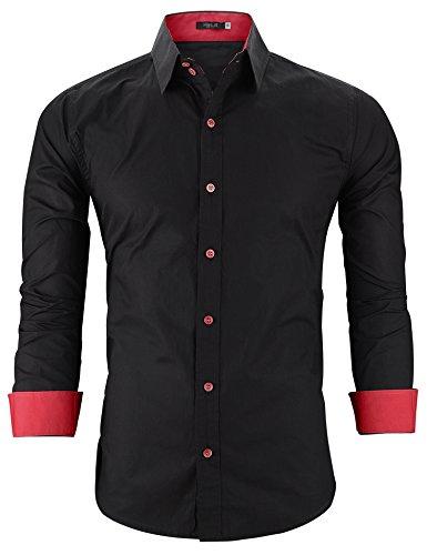 Hasuit Herren Freizeithemd einfarbig Langarmhemd casual slim fit Männer Shirts Herbst Winter Gr S-XXL Rot