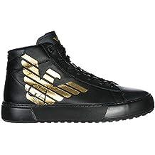 Emporio Armani EA7 Scarpe Sneakers Alte Uomo in Pelle Nuove Nero a6d5a99c31d