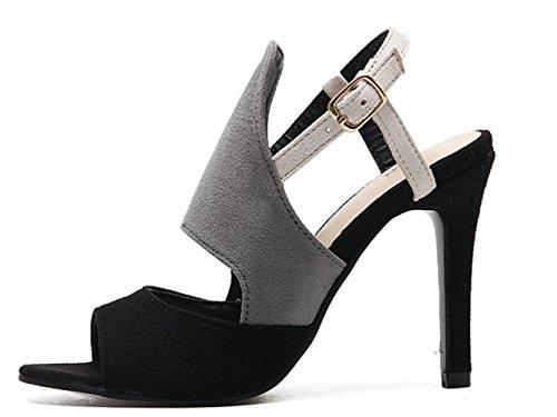 CSDM Women Stiletto Heel 2017 Nouvelle mode à talons hauts Sandales Casual Single Shoes Grey