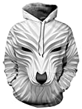 Ocean Plus Jungen 3D Kapuzenpullover Spaß Sweatshirt Hoodie mit Kängurutasche Sportlich Digitaldruck Pullover mit Kapuze (XXL (Körpergröße: 145-155cm), Weißer Fuchs)