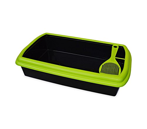 Mediawave Store 2213 Lettiera in plastica Aperta a Cassetta igienica per Gatti con setaccio (Verde)