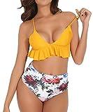 RIOJOY Damen Bikini Set High Waist Bademode Zweiteilige Strandkleidung Badeanzug mit Volant Neckholder Bikini Oberteil und Bikinihose