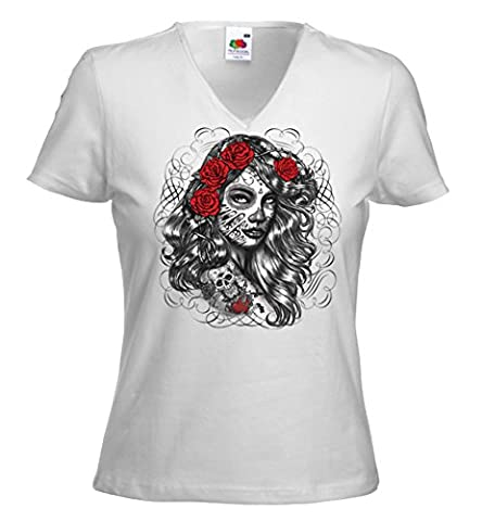 Hot Rod femme T-Shirt Girl Rose blanc Rockabilly Tattoo V8 Rat Rod Gr. M