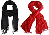 #10: Nikita Crepe Black & Red Colour Scarf For Women's